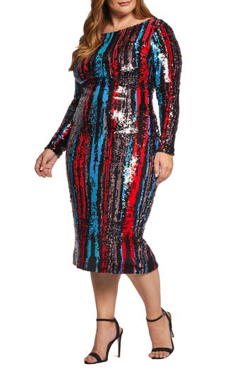 60s 70s Plus Size Dresses, Clothing, Costumes Plus Size Womens Dress The Population Emery Sequin Body-Con Dress $275.00 AT vintagedancer.com