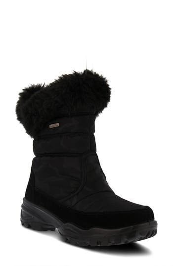 Spring Step Korine Waterproof Faux Fur Bootie - Black
