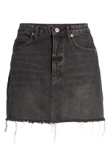 Free People Rugged A-Line Denim Miniskirt, Black