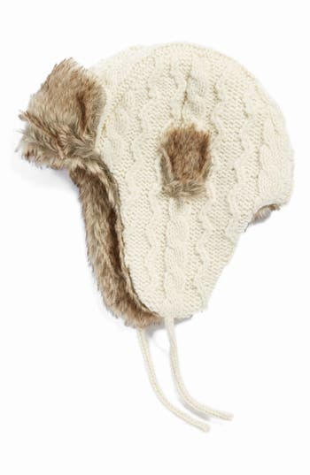Women's NirvannaDesigns Cable Knit Ear Flap Hat With FauxFur Trim - White