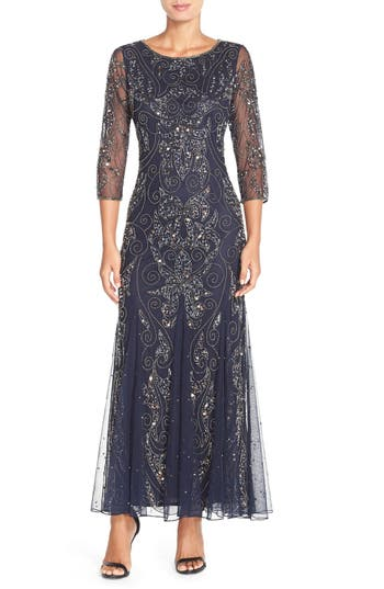 1920s Style Dresses, Flapper Dresses Pisarro Nights Embellished Mesh Gown Size 2P - Blue $218.00 AT vintagedancer.com