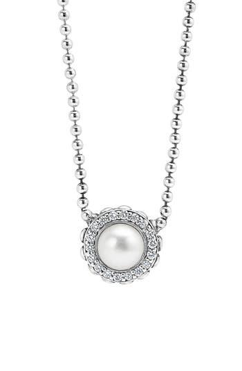 Women's Lagos 'Luna' Pearl & Diamond Pendant Necklace