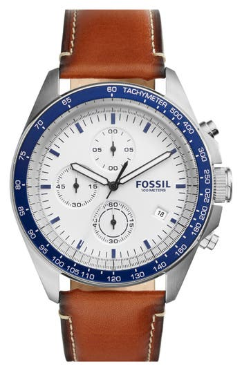 Fossil 'Sport 54' Chronograph Leather Strap Watch, 44Mm