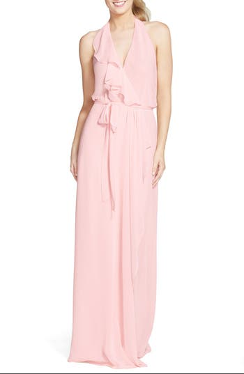 Women's Nouvelle Amsale 'Erica' Ruffle Chiffon Halter Neck Wrap Gown, Size XX-Large - Pink