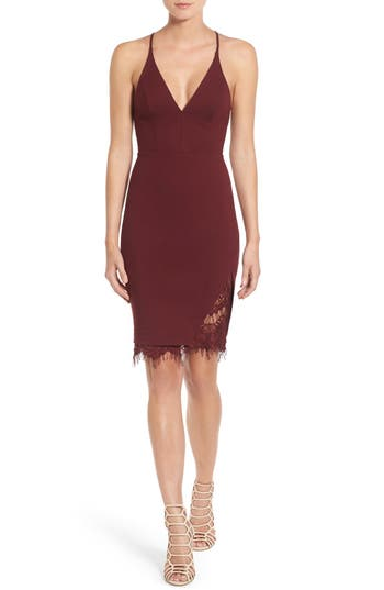 Women's Astr The Label Lace Body-Con Dress, Size X-Small - Burgundy