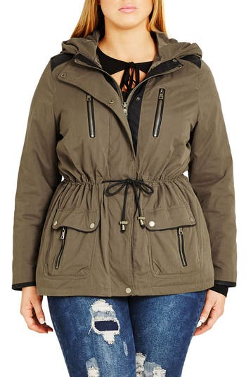 Plus Size Women's City Chic 'In Line' Drawstring Waist Military Parka