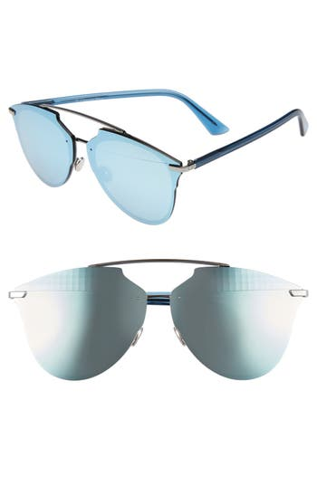 Women's Dior Reflected Prism 63Mm Oversize Mirrored Brow Bar Sunglasses - Ruthenium/ Blue