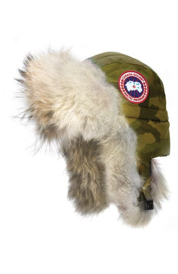Women's Canada Goose Aviator Hat With Genuine Coyote Fur Trim, Size Small/Medium - Green