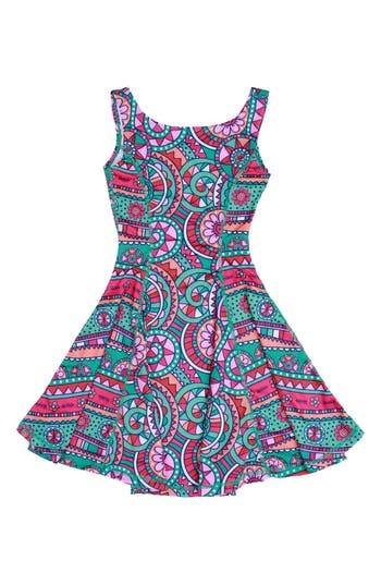 Girl's Chooze Flow Mixed Print Dress, Size L (10-12) - Purple