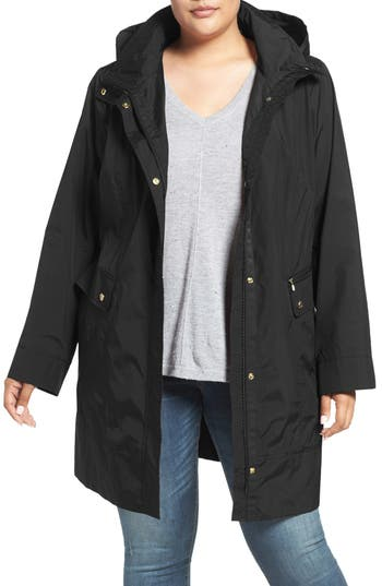 Plus Size Cole Haan Water Resistant Rain Jacket, Black