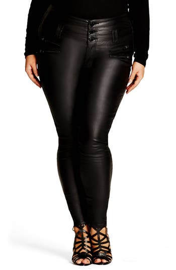 Plus Size Women's City Chic Coated Corset Skinny Jeans