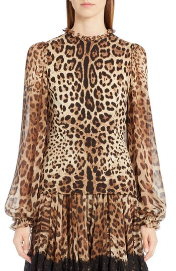 Dolce & Gabbana Silks LEOPARD PRINT STRETCH CADY BLOUSE