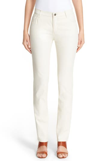 Waxed Denim Slim Leg Jeans