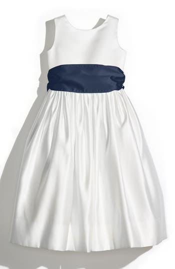 Girl's Us Angels Sleeveless Satin Dress With Contrast Sash, Size 14 - Ivory