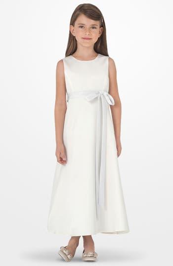 Toddler Girl's Us Angels Sleeveless Satin Dress, Size 4T - White