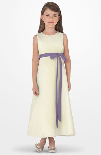Girl's Us Angels Sleeveless Satin Dress, Size 4 - Purple