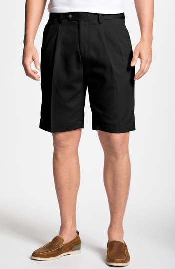 Double Pleated Microfiber Twill Shorts