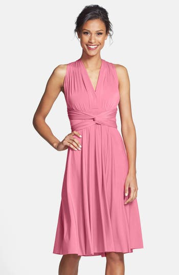 Plus Size Women's Dessy Collection Convertible Wrap Tie Surplice Jersey Dress, Size Large - Pink