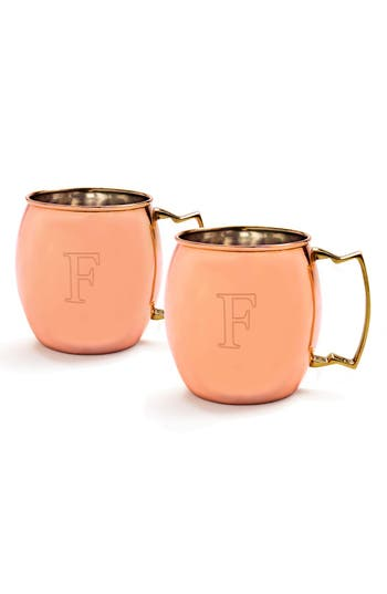 Cathy's Concepts Monogram Moscow Mule Copper Mugs, Size One Size - Metallic