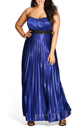 Plus Size Women's City Chic Helena Embellished Strapless Maxi Dress