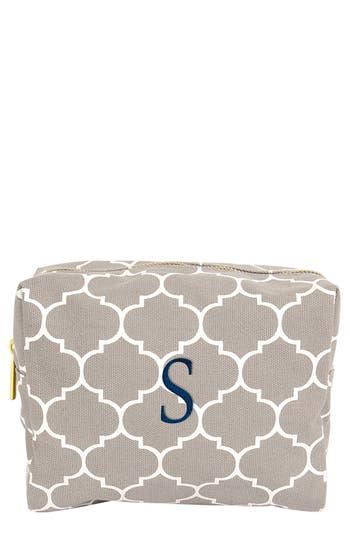 Cathy's Concepts Monogram Cosmetics Case, Size One Size - Grey