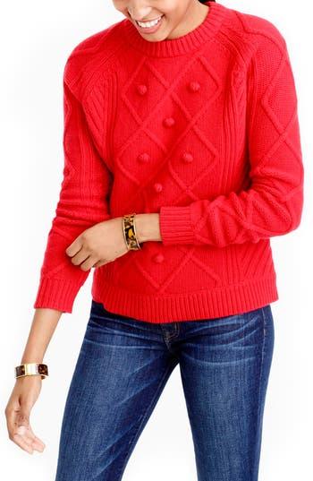 Women's J.crew Hawthorne Cable Pom-Pom Sweater, Size XX-Small - Red