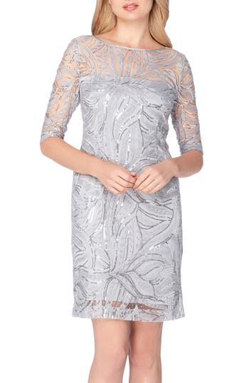 Petite Women's Tahari Sequin Illusion Sheath Dress