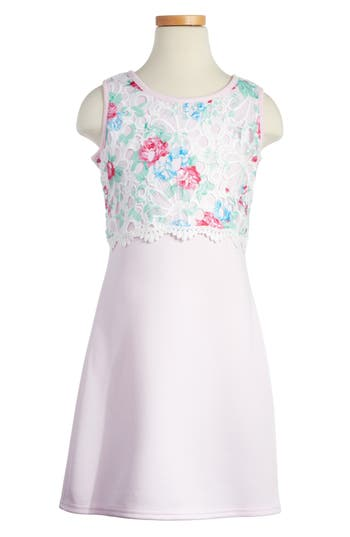 Girl's Blush By Us Angels Floral Popover Sheath Dress