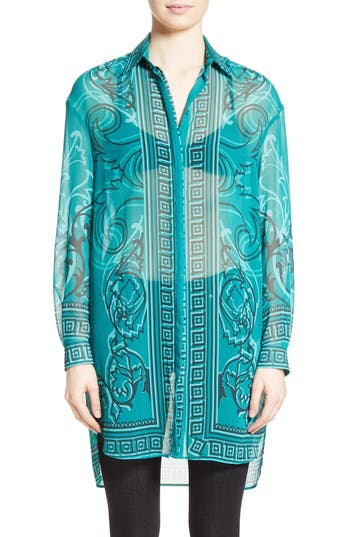 Women's Versace Collection Baroque Print Tunic, Size 10 US / 46 IT - Green