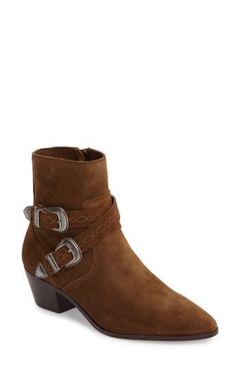 Frye Ellen Buckle Strap Bootie, Brown