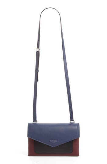 Givenchy Duetto Tricolor Leather Flap Crossbody Bag - Blue