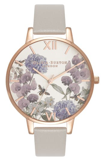 Women's Olivia Burton Parlour Leather Strap Watch, 38Mm