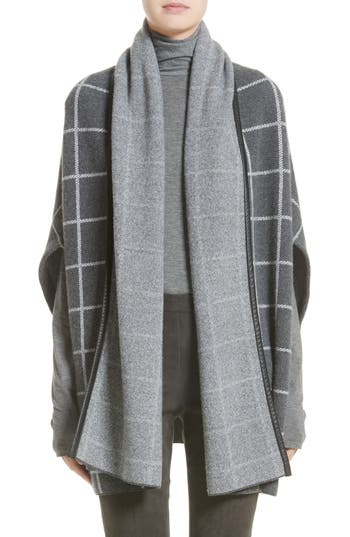 Women's St. John Collection Leather Trim Windowpane Felted Wool Blend Cardigan