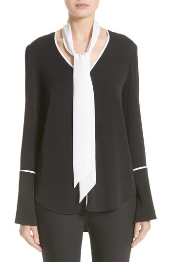 Women's St. John Collection Stretch Silk Double Georgette Blouse With Removable Scarf
