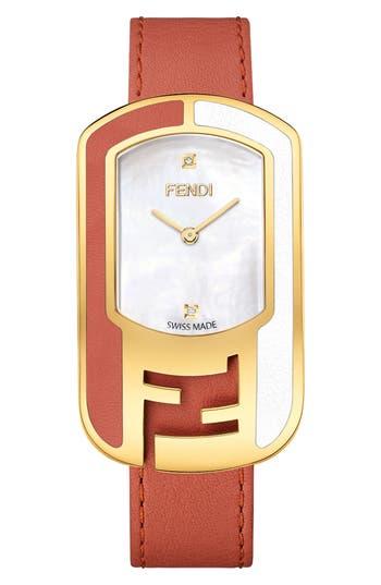 Women's Fendi Chameleon Leather Strap Watch, 29Mm X 49Mm