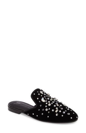 Women's Giuseppe Zanotti Embellished Velvet Loafer Mule