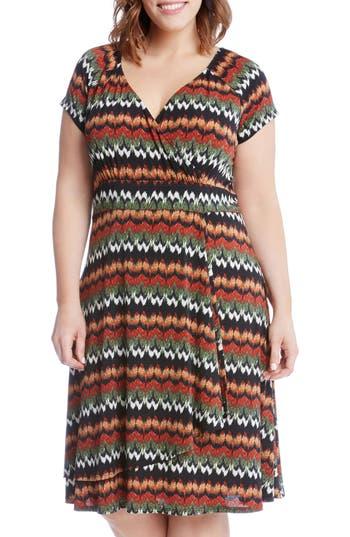 Plus Size Women's Karen Kane Print Cascade Drape Dress