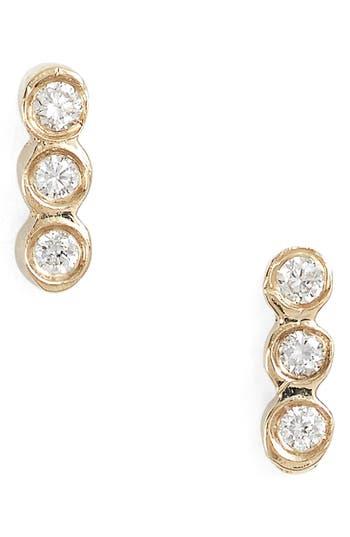 Zoe Chicco Diamond Bezel Bar Stud Earrings