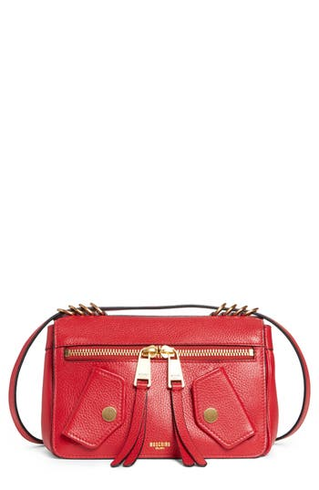 Moschino Grainy-B Leather Crossbody Bag - Red