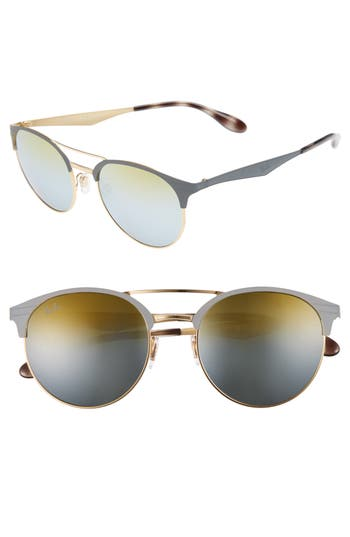 Women's Ray-Ban Highstreet 54Mm Round Sunglasses - Grey/ Gold/ Green