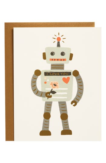 Rifle Paper Co. Love Robot Set Of 8 Note Cards - Grey