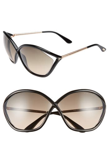 Tom Ford Bella 71Mm Gradient Lens Sunglasses - Shiny Black / Gradient Smoke