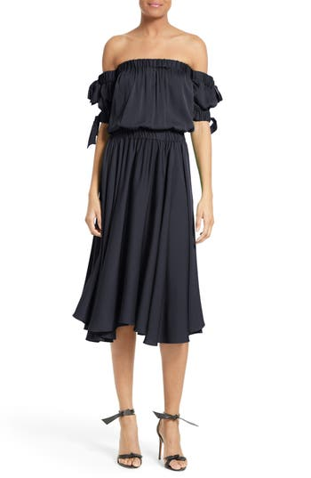 Women's Milly Zoey Off The Shoulder Stretch Silk Midi Dress, Size 12 - Blue