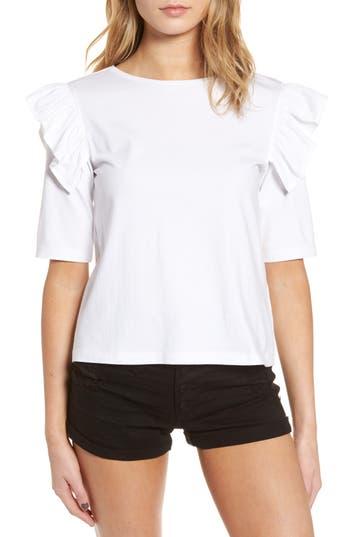 Women's Bp. Short Sleeve Ruffle Tee, Size Small - White