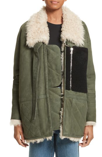 Sandy Liang Ines Suede & Genuine Shearling Coat, Green