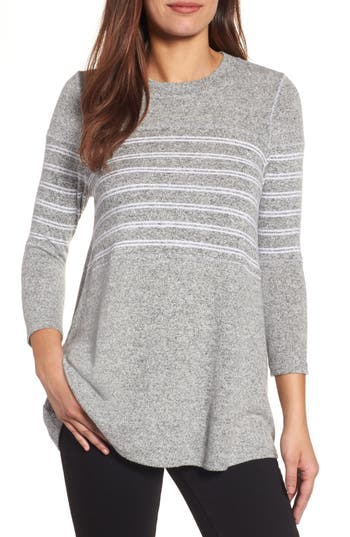 Petite Women's Caslon Stripe Panel Sweater, Size Large P - Grey