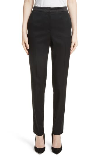 Women's Oscar De La Renta Satin Trim Stretch Wool Gabardine Pants