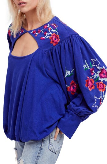 Free People Lita Embroidered Bell Sleeve Top, Blue