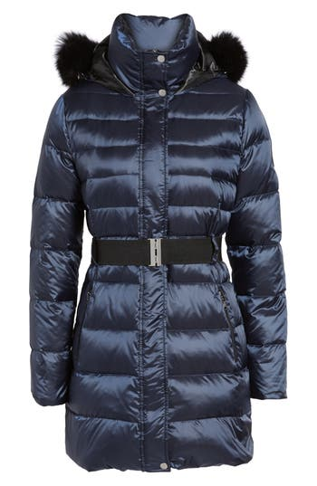 Ugg Genuine Shearling Trim Belted Down Coat, Blue