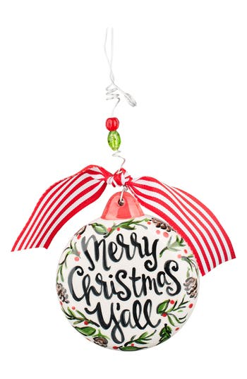 Glory Haus Merry Christmas Y'All Ceramic Ornament, Size One Size - Ivory
